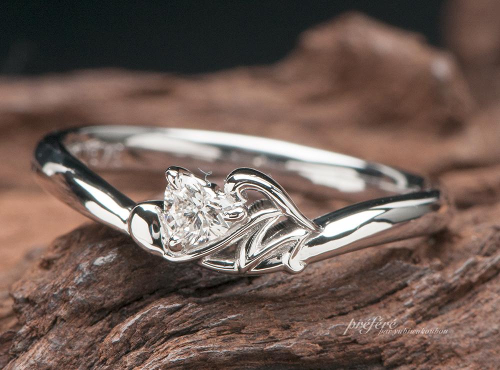 ハート 婚約指輪オーダー,イニシャル婚約指輪オーダー