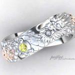 龍のデザインにファンシーイエローダイヤを入れた結婚指輪はオーダー