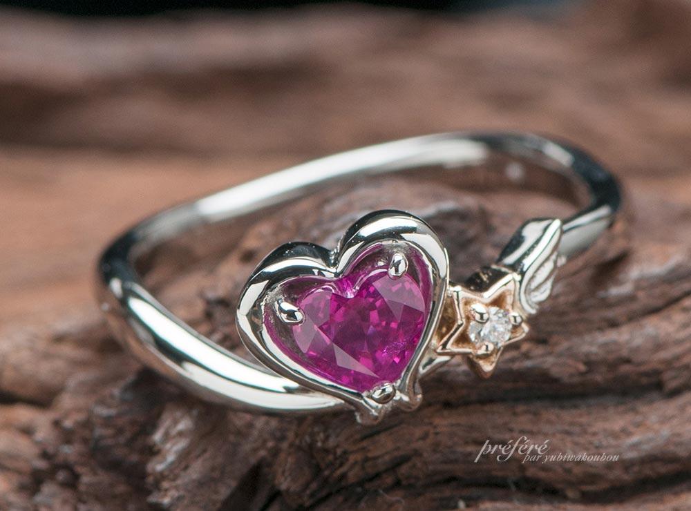 ハートのルビーで婚約指輪はオーダーメイド
