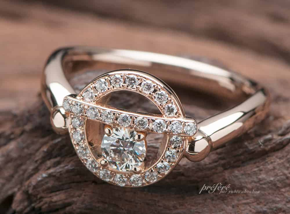 婚約指輪はドラえもんの鈴をモチーフにお創りしました(指輪No.6937)