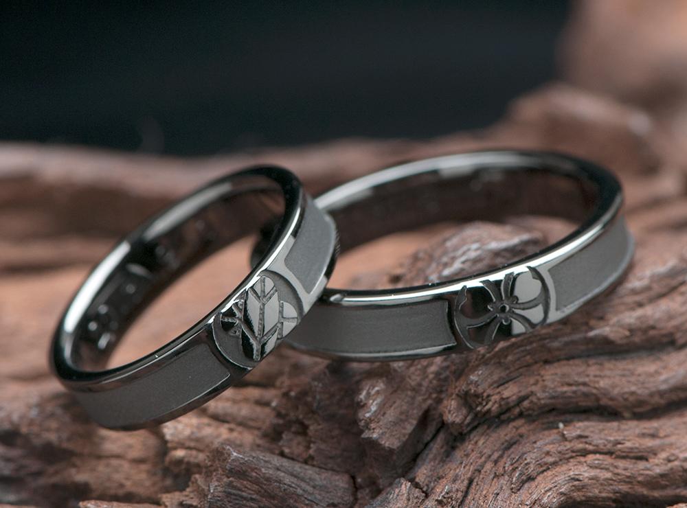 家紋 ブラックリング 結婚指輪オーダー