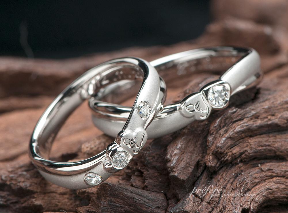 クローバーをアレンジした2連タイプの結婚指輪オーダー(指輪No.6900)