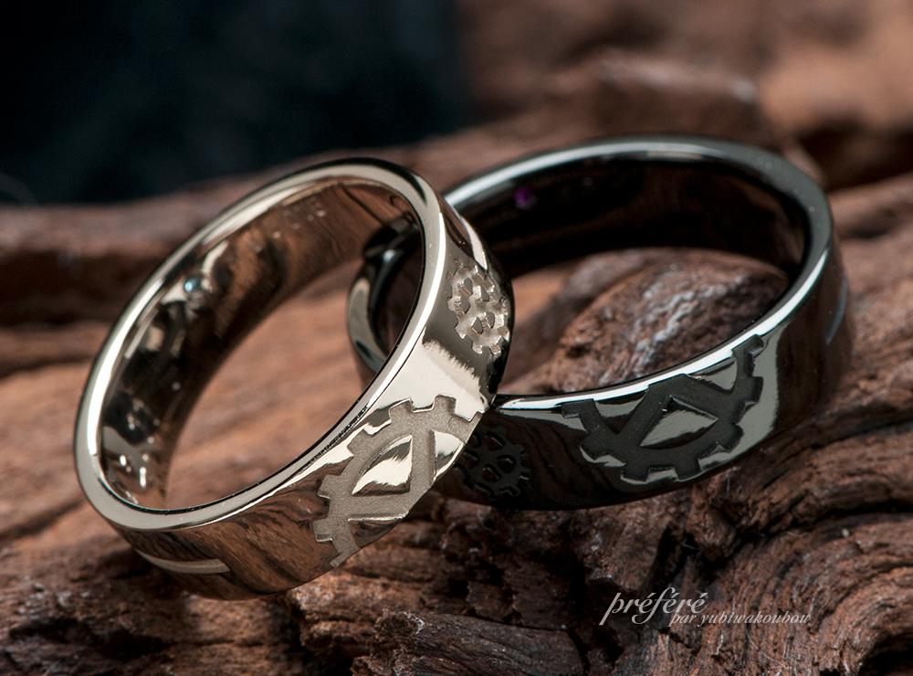 クロス(十字架)&歯車デザインの結婚指輪オーダーメイド(指輪No.6896)