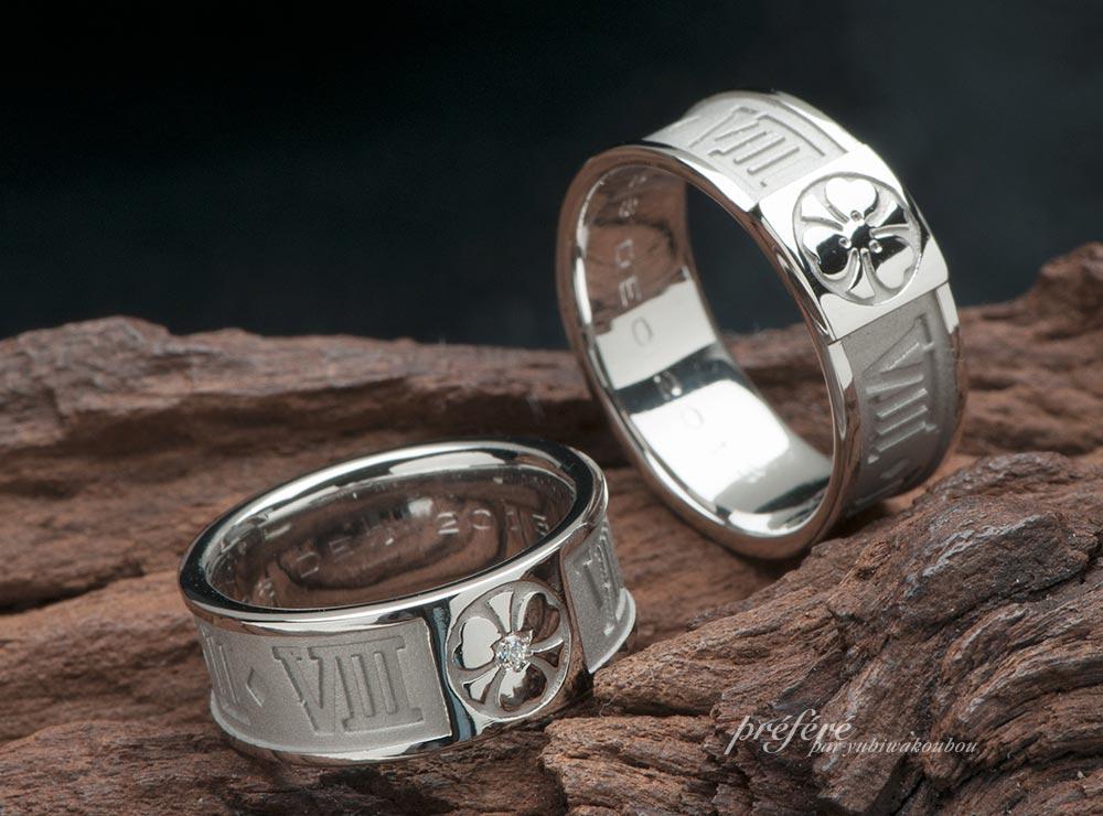 家紋 とローマ数字の結婚指輪オーダー