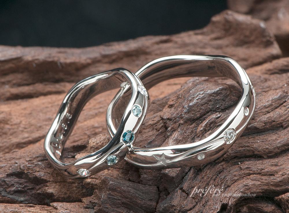 星モチーフ 結婚指輪オーダー