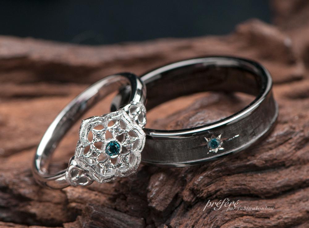 テクスチャー&ブラック 結婚指輪オーダー