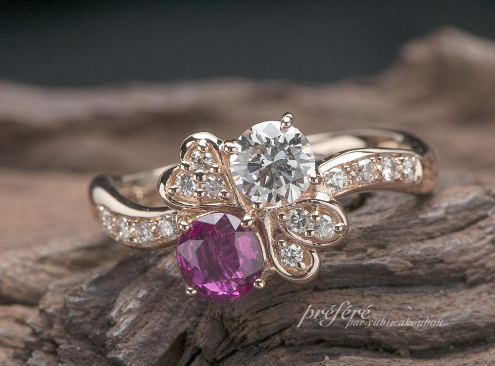 ピンクゴールドの四つ葉クローバー婚約指輪