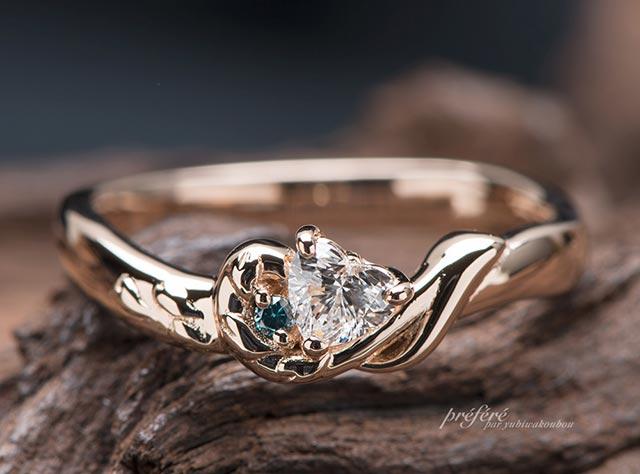 桜の花びらと音符をモチーフにオーダーでお創りした婚約指輪(指輪No.7021)