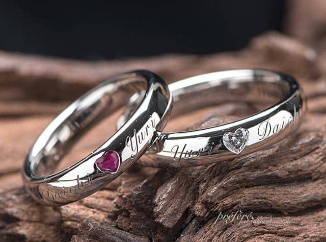 ハートダイヤ 結婚指輪オーダー,イニシャル オーダーメイド