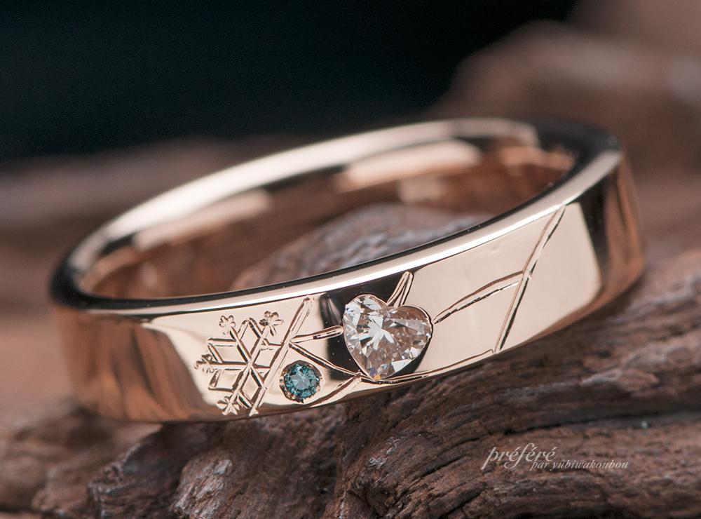 ハートダイヤ 婚約指輪オーダー,イニシャル 婚約指輪 ピンクゴールド