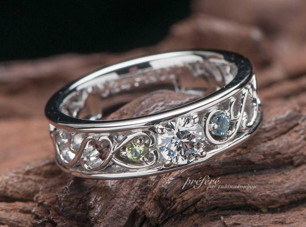 スイートテンリングは家族のイニシャルを入れてオーダーメイド(指輪No.7206)