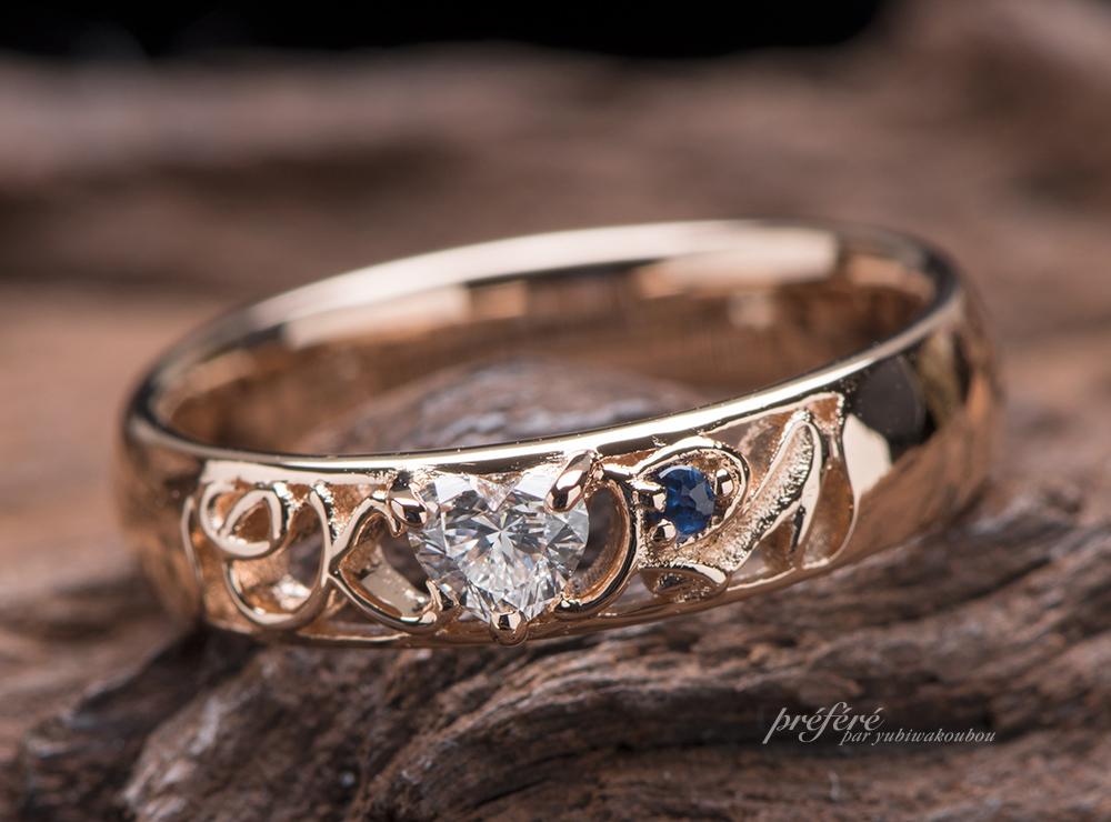 ハートダイヤ 婚約指輪オーダー,イニシャル   婚約指輪オーダー
