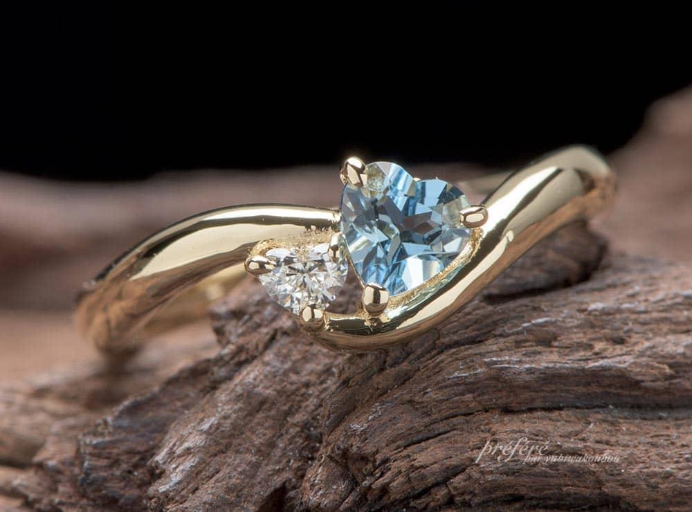 お誕生石のアクアマリンとダイヤの婚約指輪のオーダーメイド(指輪No.7213)
