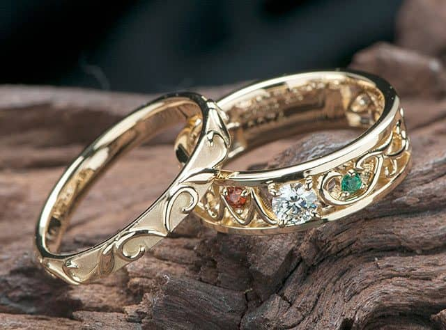 オリーブ葉モチーフにペアで結婚10周年のスイートテンリング(指輪No.7194)