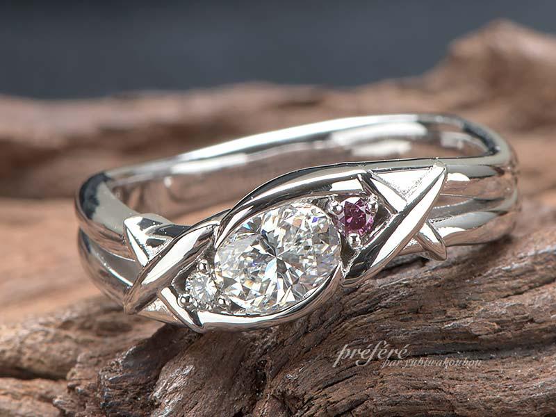 オーバルダイヤ 飛行機をモチーフに婚約指輪はオーダーメイド