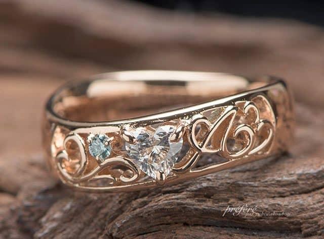 ハートのダイヤとピンクゴールドで婚約指輪をオーダーメイド(指輪No.7287)