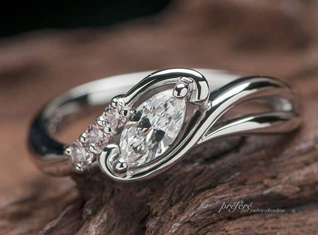 マーキスダイヤとピンクダイヤの婚約指輪はオーダーメイド(指輪No.7358)