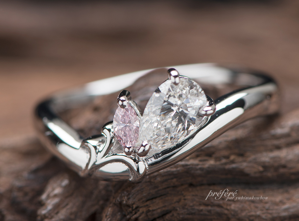 ゆりの花 ペアシェイプ 婚約指輪オーダー