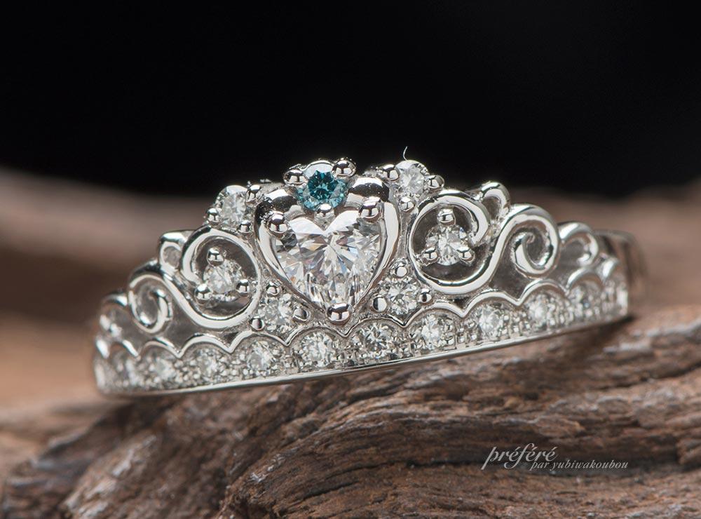 ハートダイヤのティアラ型婚約指輪はロココ調でオーダーメイド(指輪No.7324)