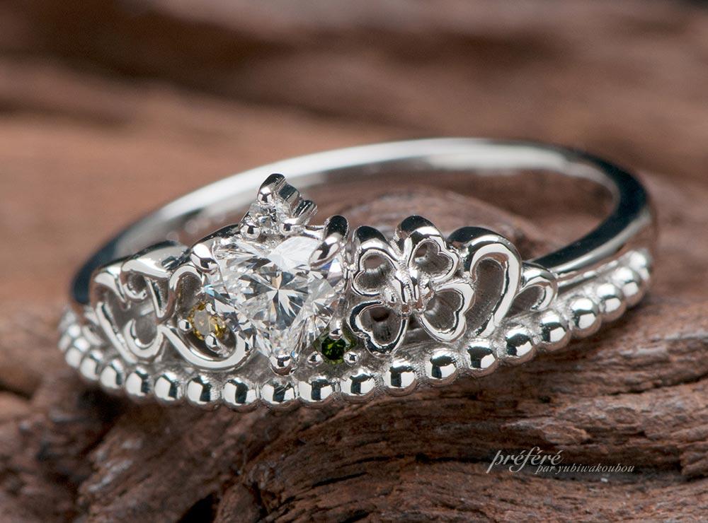 四つ葉モチーフのティアラ型婚約指輪のオーダーメイド