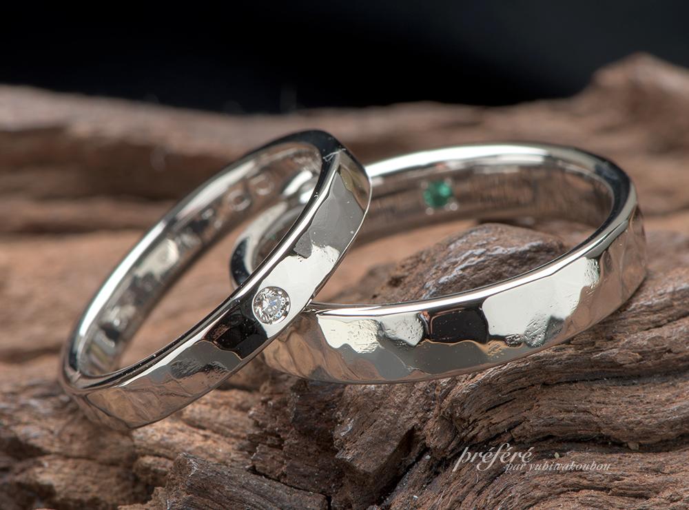 槌目模様 結婚指輪オーダー