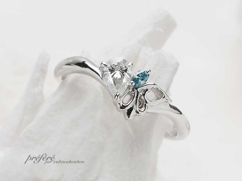 ペアシェイプダイヤの婚約指輪