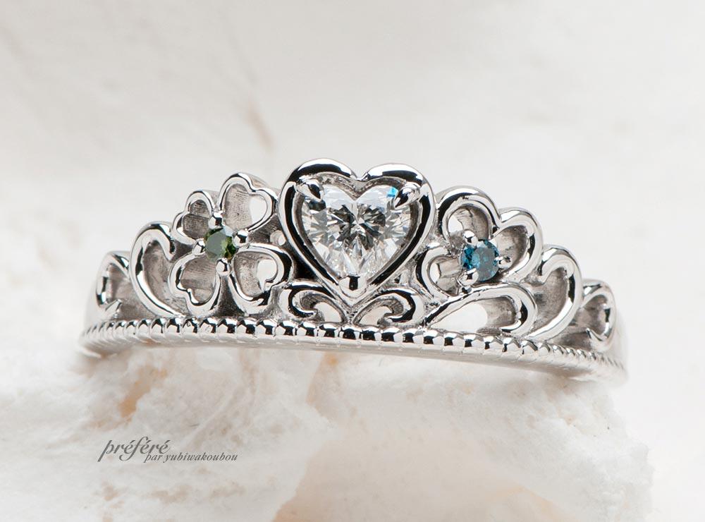 ハートティアラの婚約指輪は四つ葉に想いを込めてオーダーメイド(指輪No.7685)