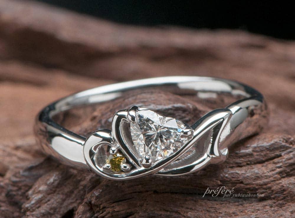 婚約指輪はオーダーで彼女の好きな音楽を音符モチーフでアレンジ(指輪No.7674)