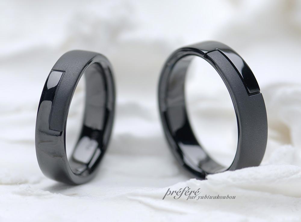 結婚指輪のオーダーはシンプルデザインのブラックリング(指輪No.7649)