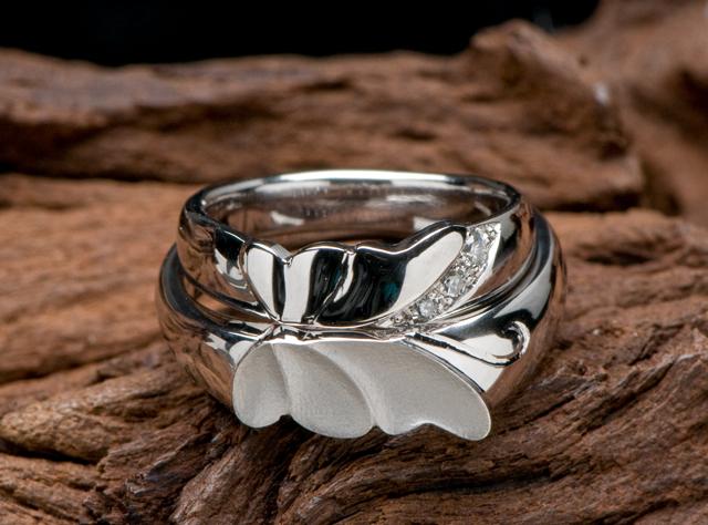 【蝶蝶】モチーフのオーダーメード結婚指輪が出来ました(指輪No.1157)