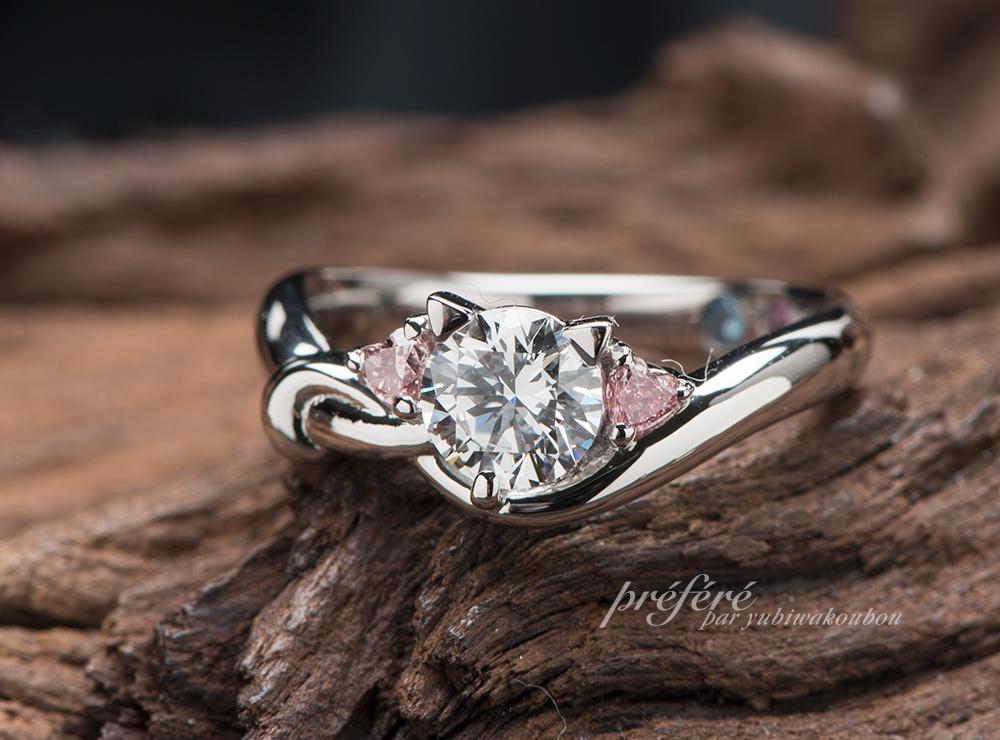ハート形ピンクダイヤ 結婚10周年指輪オーダー