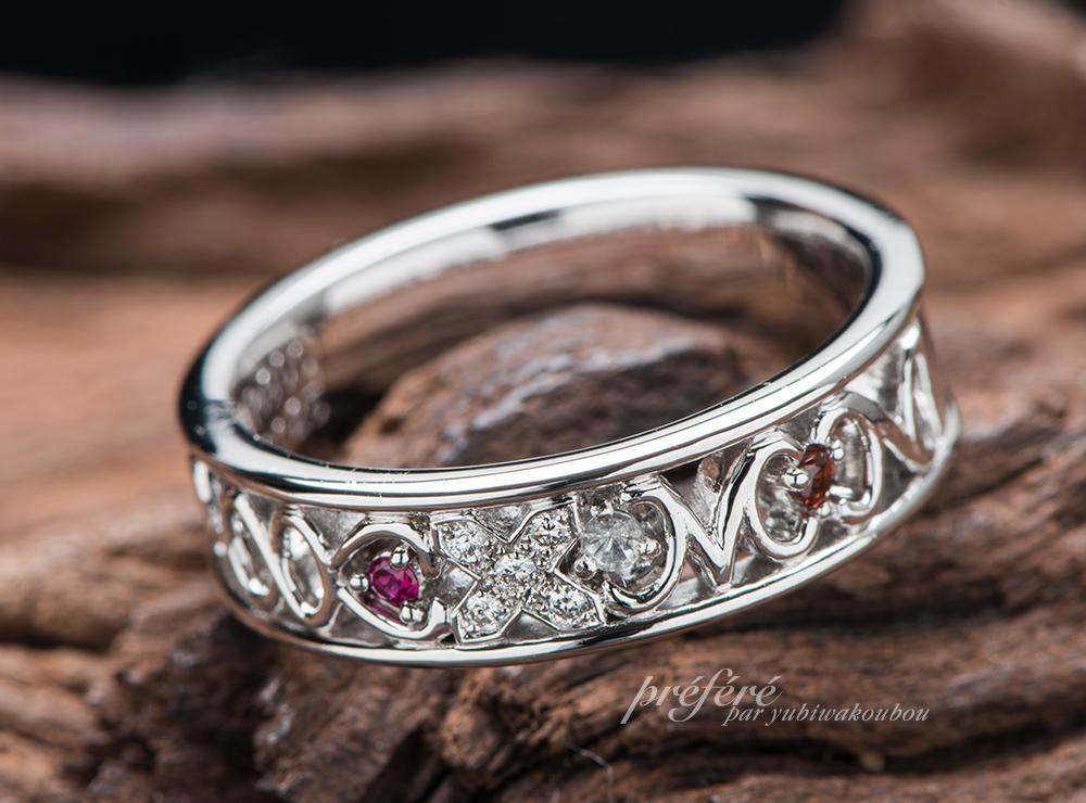 誕生石 結婚10周年指輪オーダー イニシャル