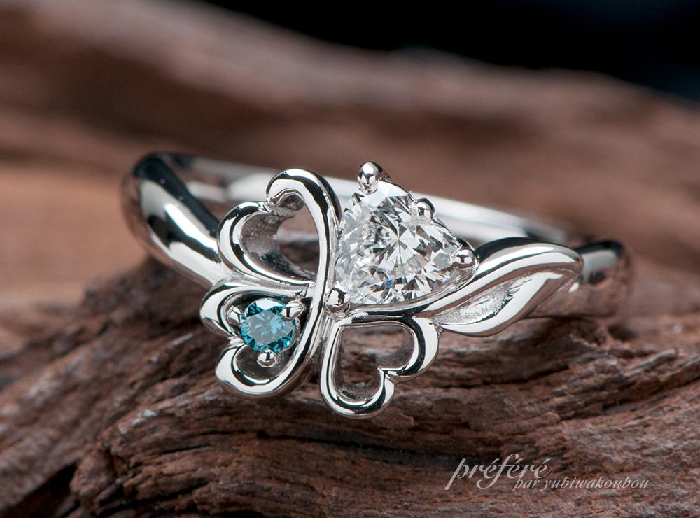 ハートダイヤ 婚約指輪 4つ葉