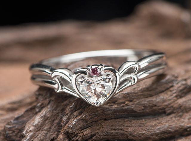 ハート婚約指輪オーダー,ウサギモチーフ婚約指輪オーダーメイド