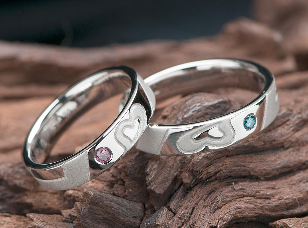 結婚指輪はハートの8とイニシャルモチーフでオーダーメイド(指輪No.10031)