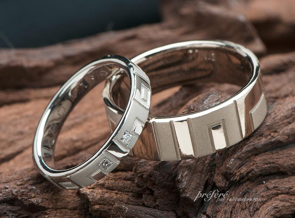 結婚指輪のオーダーはイニシャル&プリンセスダイヤ