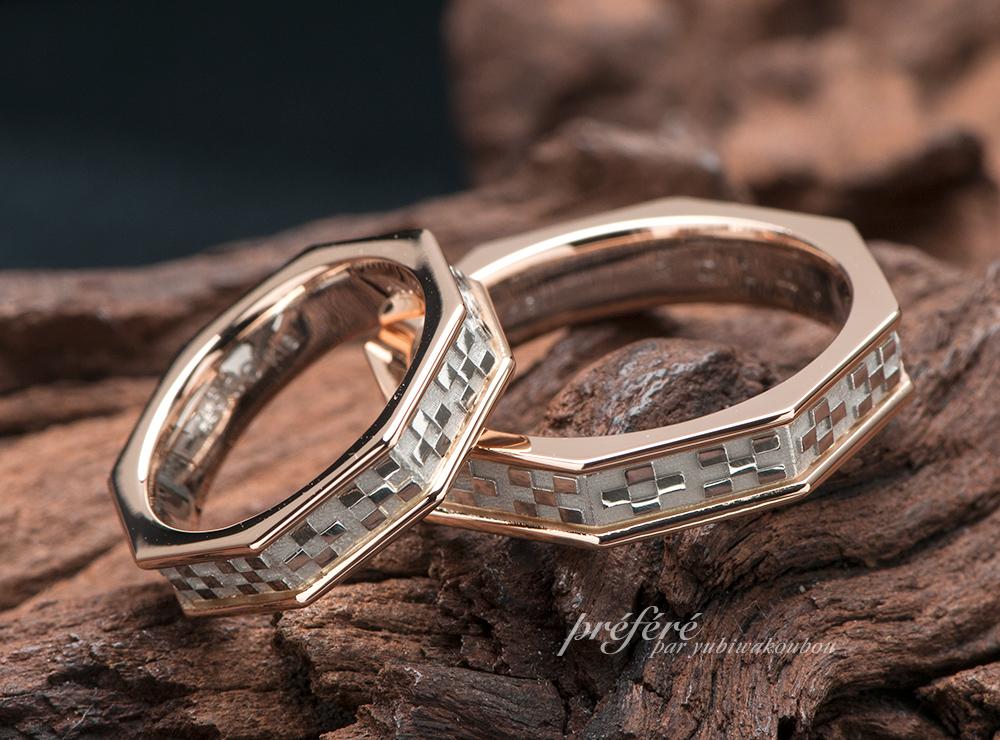 ミンサー柄 結婚指輪オーダー,八角形 結婚指輪オーダー