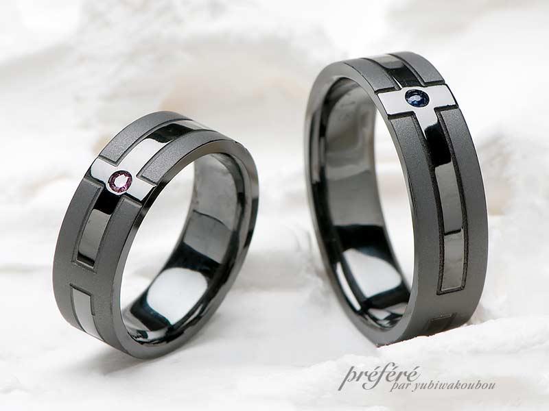 結婚指輪(ブラック仕上げ)-1の写真