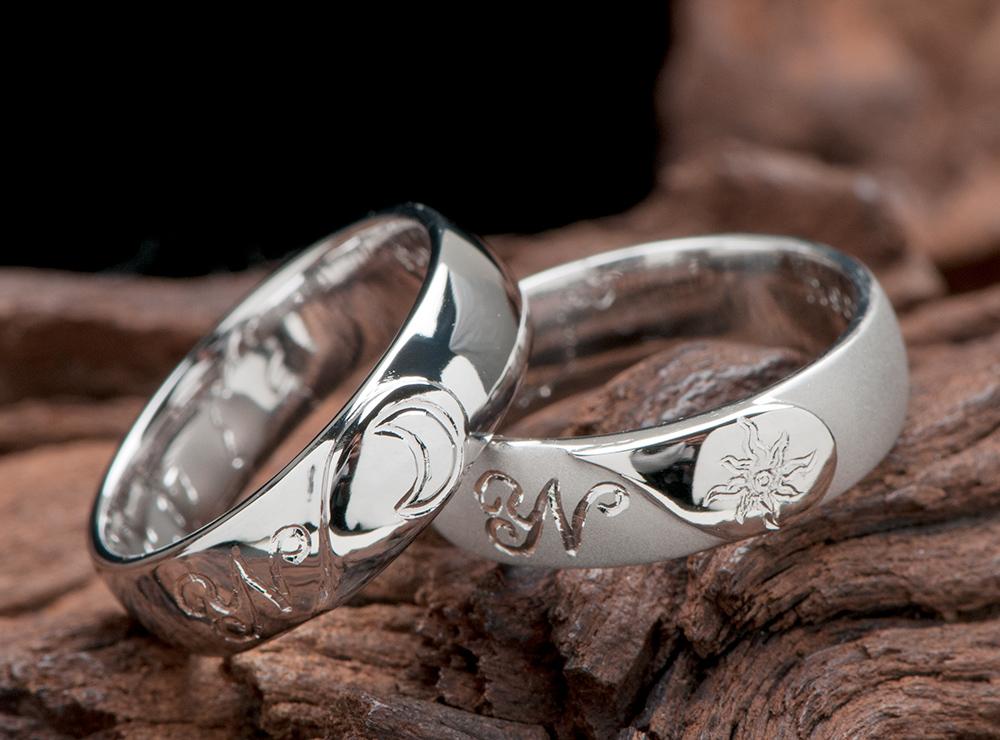月 太陽モチーフ 結婚指輪オーダーメイド
