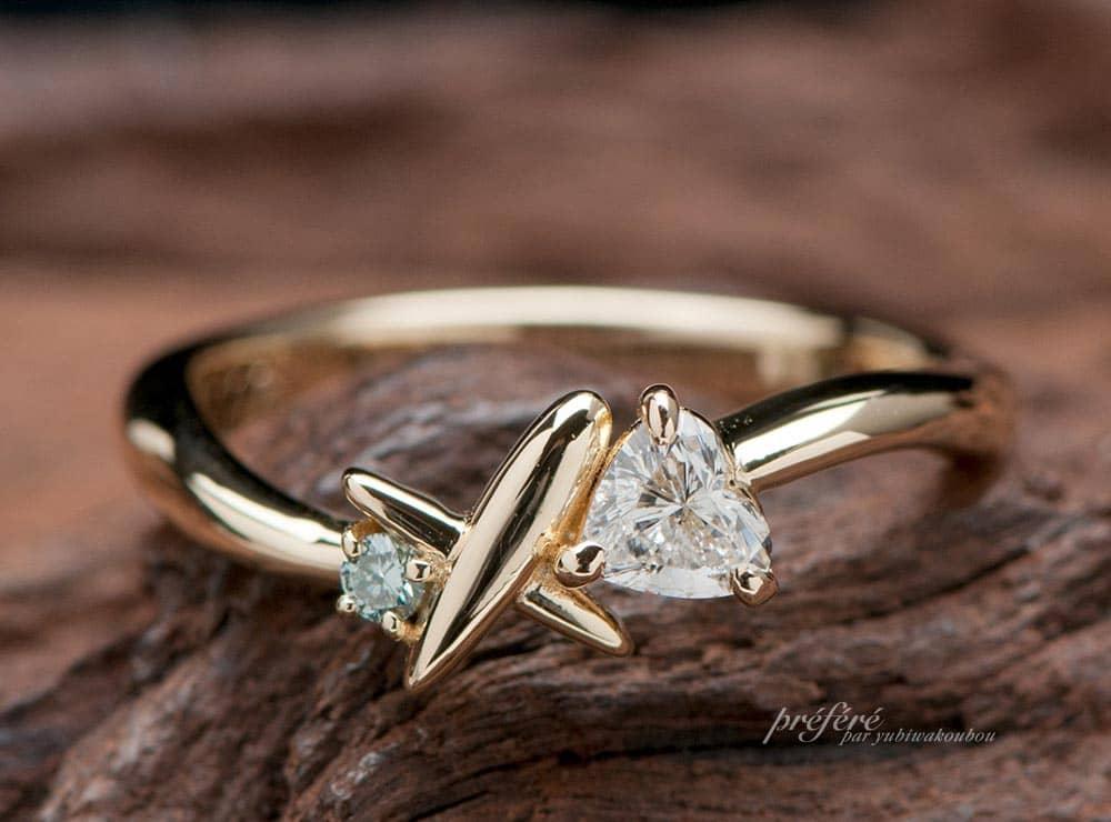 飛行機好きの彼女のためにオーダーメイドした婚約指輪(指輪No.9009)
