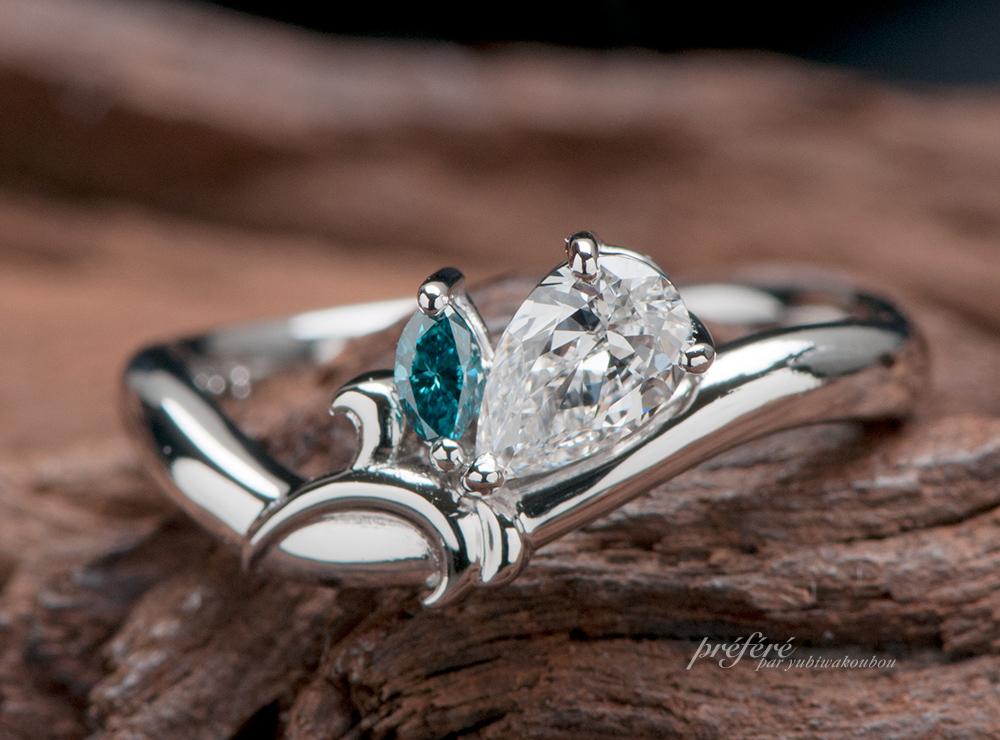 ペアシェイプのダイヤでゆりの花モチーフの婚約指輪はオーダーで