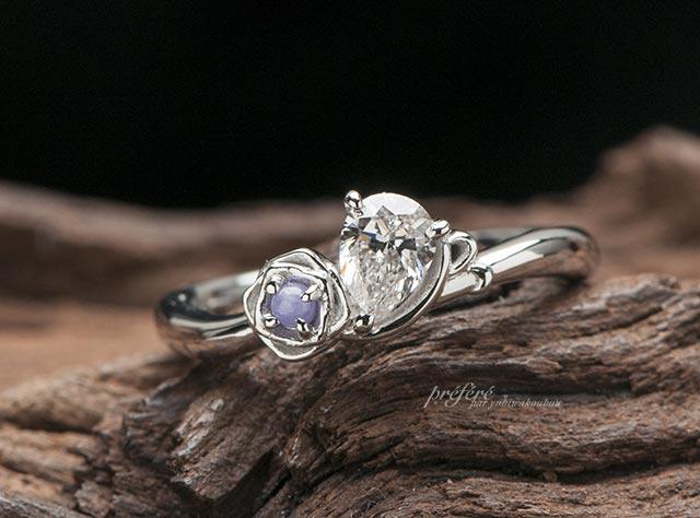 バラ 婚約指輪オーダー,婚約指輪オーダー プロポーズ, ペアシェイプ 婚約指輪