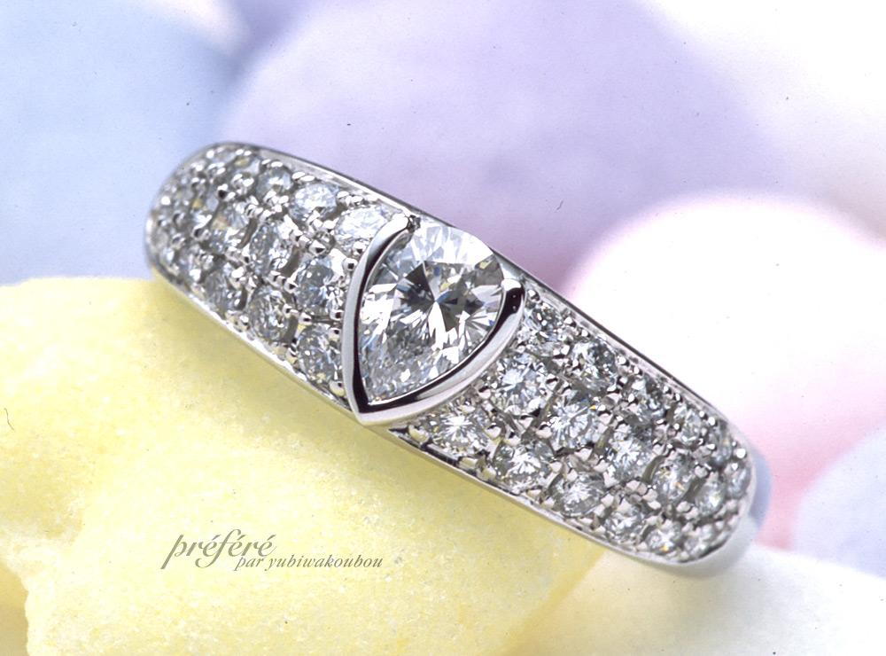 ペアシェイプ 婚約指輪をオーダーメイド