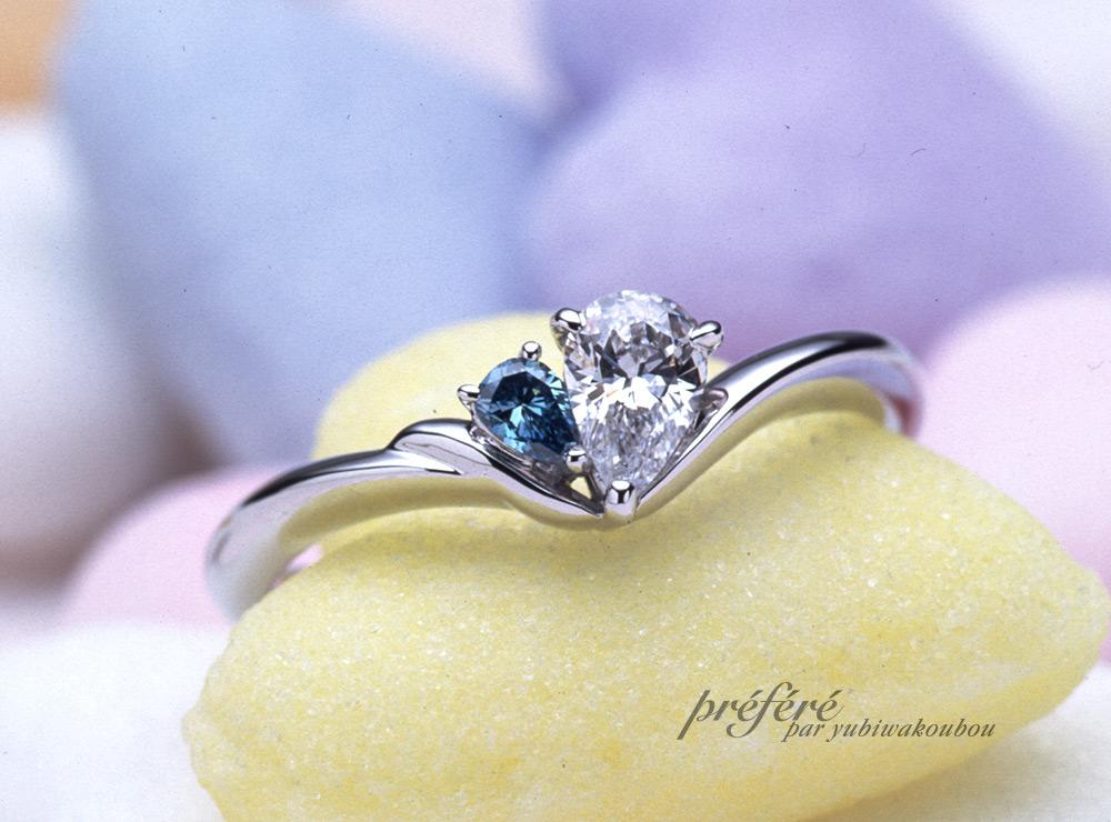 婚約指輪のオーダーメイドはペアシェイプダイヤを寄り添わせて