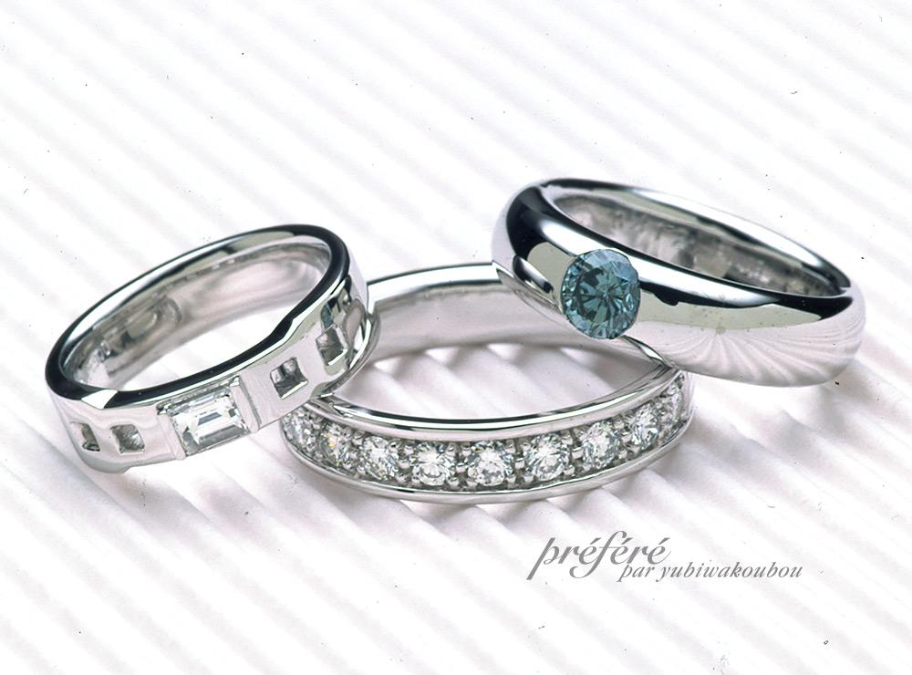 ラウンドのブルーダイヤで婚約指輪をオーダーメイド