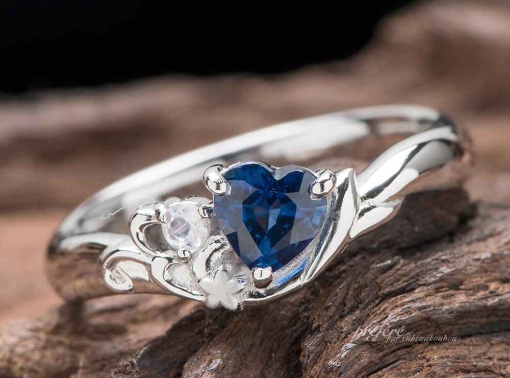 婚約指輪のオーダーはハート形サファイアと波と花と人形姫モチーフでお作りしました(指輪No.10380)