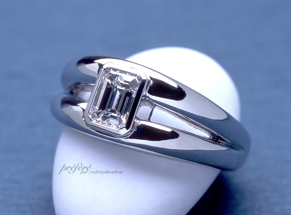 エメラルドカットダイヤ オーダーメイド 婚約指輪