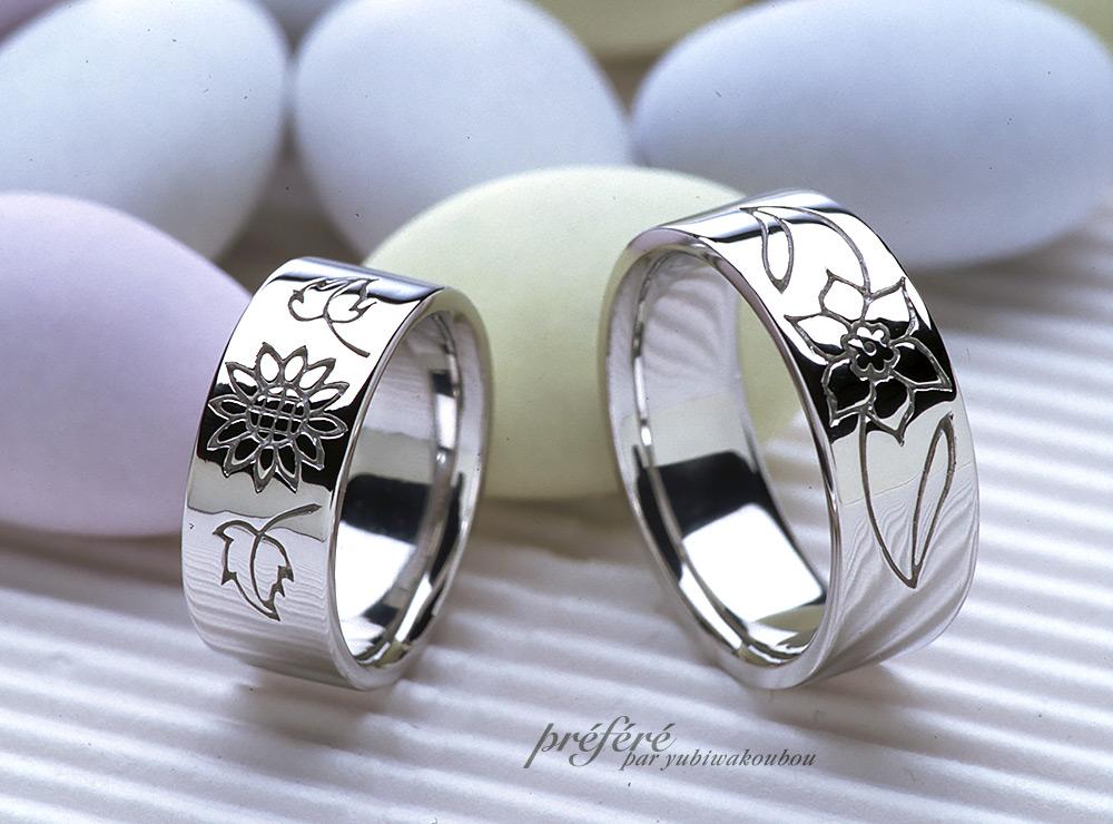 花を描いたオーダーメイドのマリッジリング(結婚指輪)