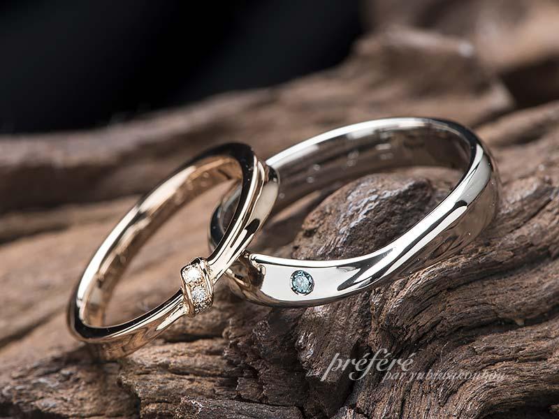 リボンモチーフの結婚指輪