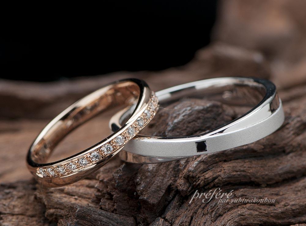 クロスモチーフのオーダーメイド結婚指輪